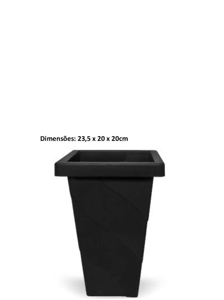 Vaso Elegance Quadrado de 4,5 Litros Preto Inplast Ref. 6847