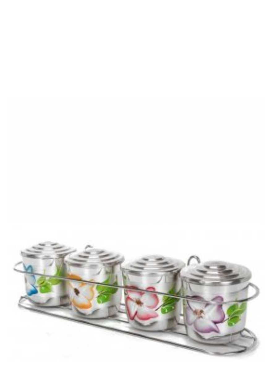 Porta Condimentos 4 peças de Alumínio decorado a Mão Analeni Ref. 7371